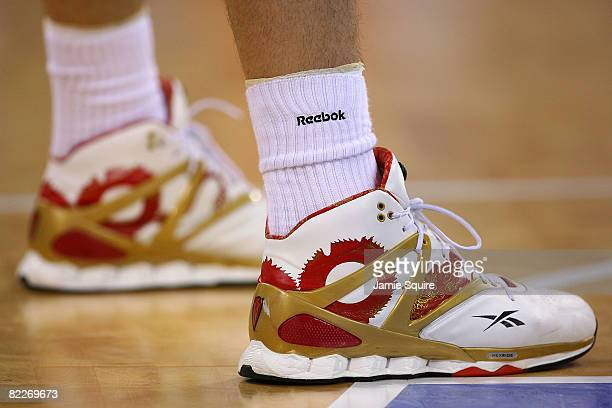 Detailed shot of the Reebok shoes worn by Yao Ming of China during the men's preliminary round basketball game against Spain at the Beijing Olympic...
