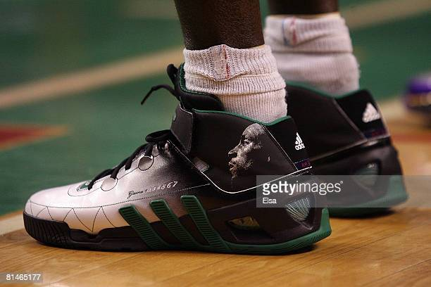 A detailed shot of the shoes of Kevin Garnett of the Boston Celtics in the third quarter of Game One of the 2008 NBA Finals against the Los Angeles...