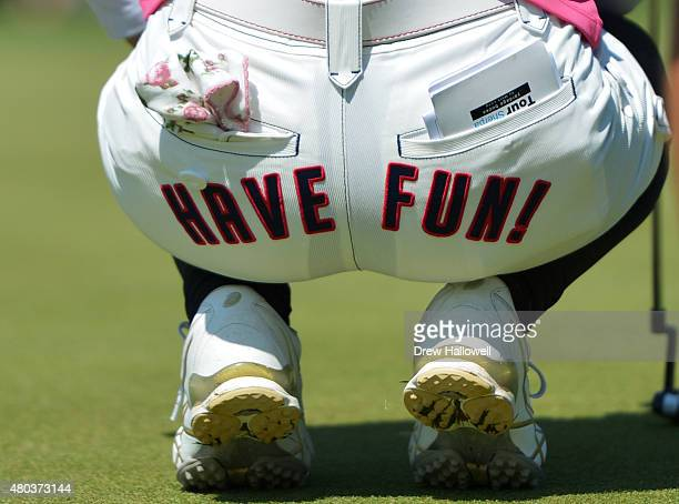 A detailed shot of the shorts of Sakura Yokomine of Japan during the third round of the US Women's Open at Lancaster Country Club on July 11 2015 in...