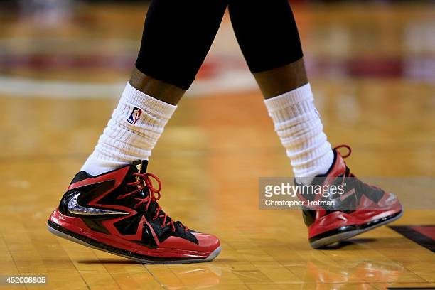 A detailed shot of the sneakers of LeBron James of the Miami Heat during a game against the Orlando Magic at American Airlines Arena on November 23...