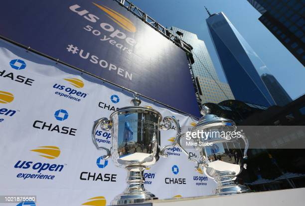 Detailed shot of the US Open men's singles trophy and women's singles trophy is seen during the US Open Experience at Brookfield Place on August 23,...