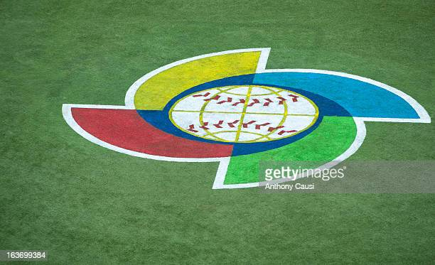 A detailed shot of the World Baseball Classic logo on the field during Pool C Game 5 between Spain and Venezuela in the first round of the 2013 World...
