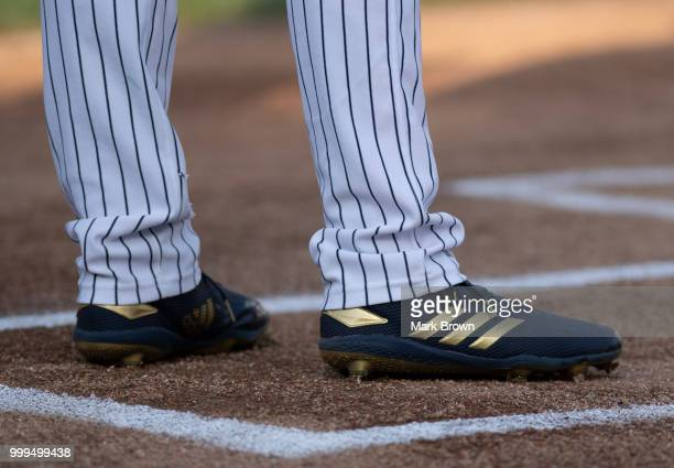 A detailed version of the Adidas cleat worn by the Eastern Division All Stars during the 2018 Eastern League All Star Game at Arm Hammer Park on July...