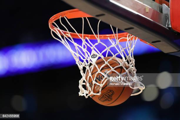 A detailed view as a basketball goes through the hoop prior to the 2017 BBVA Compass Rising Stars Challenge between the US Team and the World Team at...