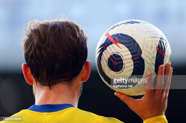 Detailed view as a player holds the blue and white Nike Flight Premier League match ball during the Premier League match between West Bromwich Albion...