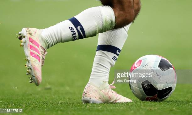 Detailed view as a player runs with the ball during the Premier League 2 match between Tottenham Hotspur and Manchester City at Tottenham Hotspur...