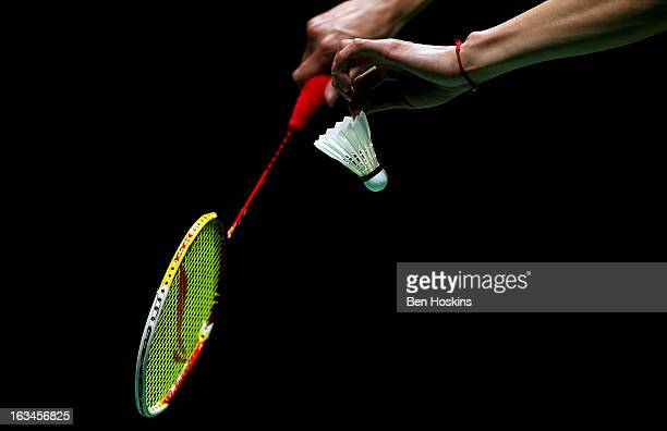 Detailed view as Chen Long of China prepares to serve during Day 6 of the Yonex All England Badminton Open at NIA Arena on March 10, 2013 in...