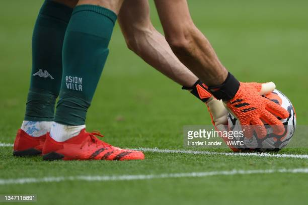 Detailed view as Emiliano Martinez of Aston Villa places the Nike Flight match ball down to take a goal kick during the Premier League match between...