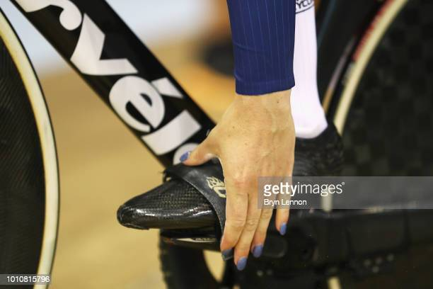 A detailed view as Katy Marchant of Great Britain gets ready to compete in the Sprint Women 1/8 Finals on Day 3 of the European Championships Glasgow...