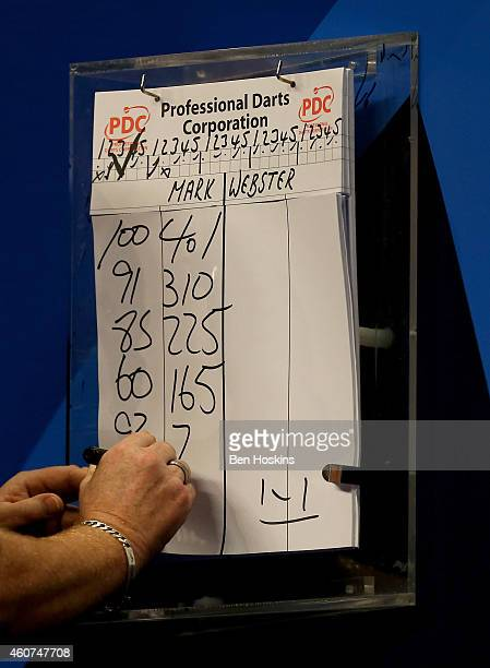 A detailed view as Mark Webster of Wales scorecard is marked on day four of the 2015 William Hill PDC World Darts Championships at Alexandra Palace...