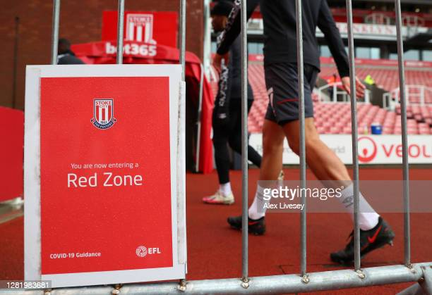 A detailed view as Players are seen walking in the 'Red Zone' during the Sky Bet Championship match between Stoke City and Brentford at Bet365...