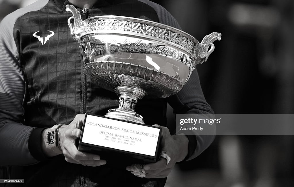 A detailed view as Rafael Nadal of Spain holds the Decima trophy following his victory in the mens singles final against Stan Wawrinks of Switzerland on day fifteen of the 2017 French Open at Roland Garros on June 11, 2017 in Paris, France.