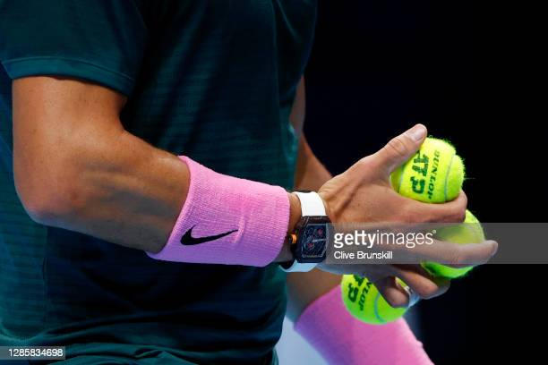 Detailed view as Rafael Nadal of Spain prepares to serve during his round robin match against Andrey Rublev of Russia during their first round robin...