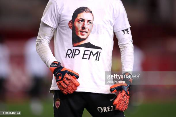 A detailed view as the Monaco players warm up in shirts paying tribute to Emiliano Sala during the Ligue 1 match between AS Monaco and FC Nantes at...