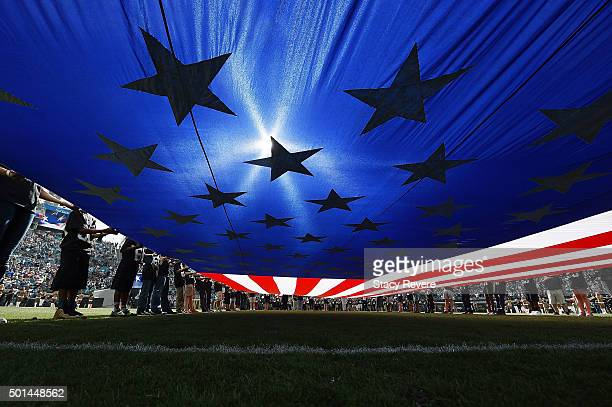 A detailed view from under the American flag on EverBank Field prior to a game between the Jacksonville Jaguars and the Indianapolis Colts on...