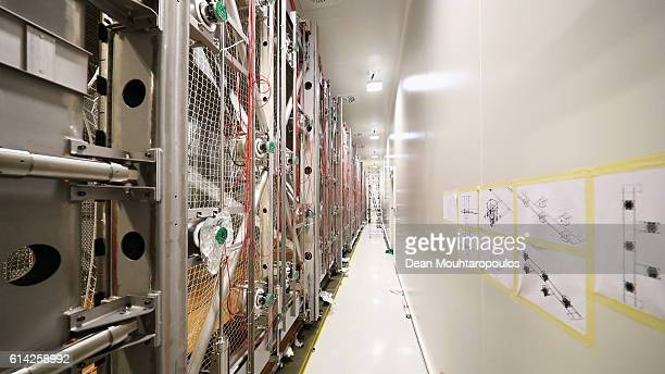 A detailed view in the Clean Room of the ICARUS project detector with its new cryostat the cold box containing the detector and photomultipliers...