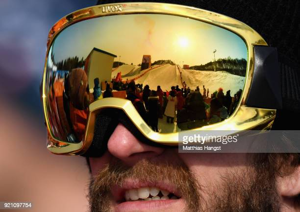 A detailed view into an athletes goggles during the Freestyle Skiing Men's Ski Halfpipe Qualification on day eleven of the PyeongChang 2018 Winter...