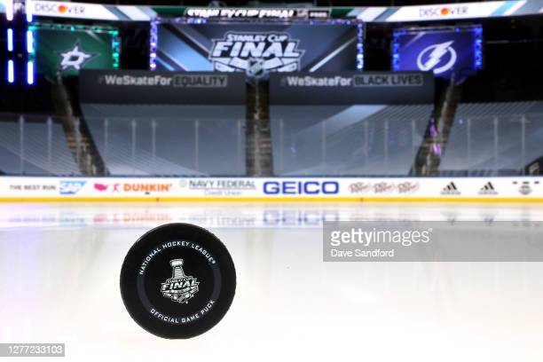 Detailed view is seen of the 2020 NHL Stanley Cup Final official game puck before Game Six of the NHL Stanley Cup Final between the Tampa Bay...