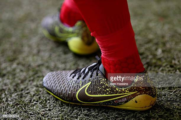 A detailed view James Milners boots during the Barclays Premier League match between Liverpool and Aston Villa on September 26 2015 in Liverpool...