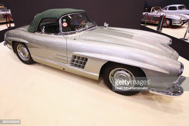 A detailed view of a 1957 MercedesBenz 300SL Roadster during the The 29th TechnoClassica Essen run by SIHA Salons Automobiles and held at Messe Essen...