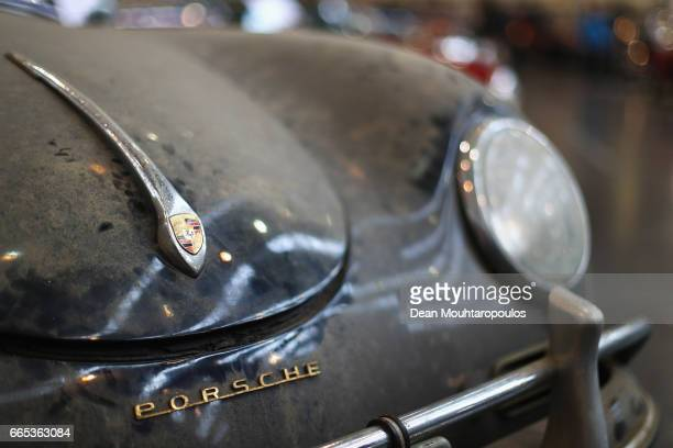 A detailed view of a 1957 Porsche 356A 1600 Speedster which is marked as a barn find during the The 29th TechnoClassica Essen run by SIHA Salons...