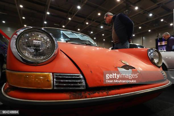 A detailed view of a 1971 Porsche 911 Coupe 22E in need of a full restoration during the 25th edition of InterClassics Maastricht held at MECC Halls...