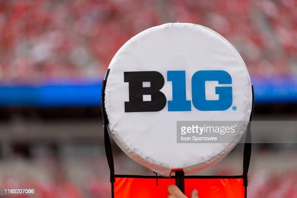 Detailed view of a B1G ten logo is seen during game action between the Ohio State Buckeyes and the Florida Atlantic Owls on August 31 at Ohio Stadium...