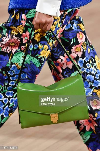 Detailed view of a bag worn by a model in the runway during the Marc Jacobs Spring 2020 Runway Show at Park Avenue Armory on September 11, 2019 in...