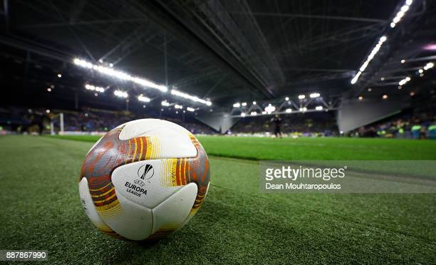 A detailed view of a ball ahead of the UEFA Europa League group K match between Vitesse and OGC Nice on December 7 2017 in Arnhem Netherlands