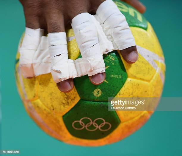 A detailed view of a ball is displayed during the Men's Quarterfinal Handball contest at Future Arena on Day 12 of the Rio 2016 Olympic Games on...
