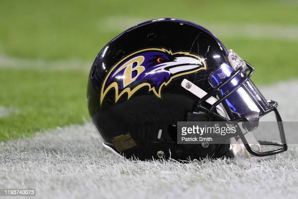 A detailed view of a Baltimore Ravens helmet at MT Bank Stadium on December 12 2019 in Baltimore Maryland