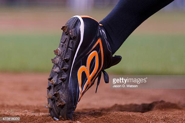 Detailed view of a baseball cleat worn by Ichiro Suzuki of the Miami Marlins during the seventh inning against the San Francisco Giants at ATT Park...