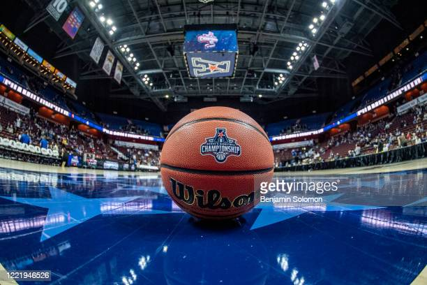 Detailed view of a basketball ahead of the American Athletic Conference Women's Basketball championship game between the UConn Huskies and Cincinnati...