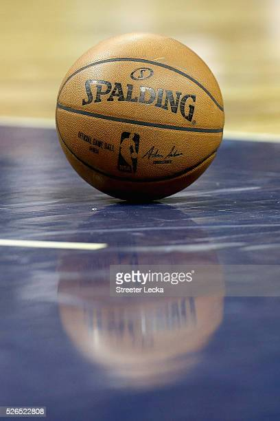A detailed view of a basketball on the court during game six of the Eastern Conference Quarterfinals of the 2016 NBA Playoffs at Time Warner Cable...