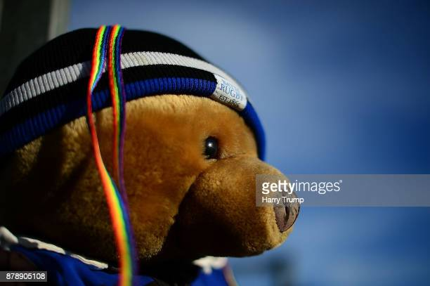 Detailed view of a Bath Rugby Teddy Bear with Rainbow laces on their head during the Aviva Premiership match between Bath Rugby and Harlequins at the...