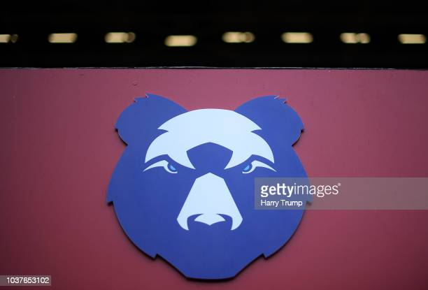 Detailed view of a Bear logo on the side of the stand during the Gallagher Premiership Rugby match between Bristol Bears and Harlequins at Ashton...
