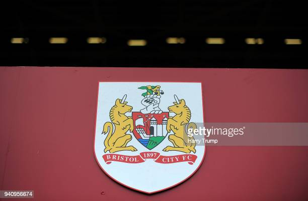Detailed view of a Bristol City badge during the Sky Bet Championship match between Bristol City and Brentford at Ashton Gate on April 2 2018 in...