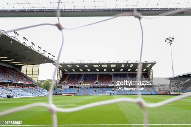 A detailed view of a Burnley fans cap displaying pin badges is seen prior to the Premier League match between Burnley FC and AFC Bournemouth at Turf...