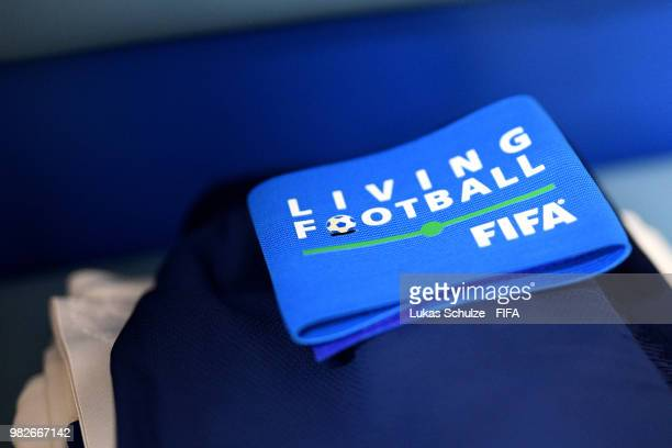 A detailed view of a captains armband is seen inside the dressing room prior to the 2018 FIFA World Cup Russia group G match between England and...