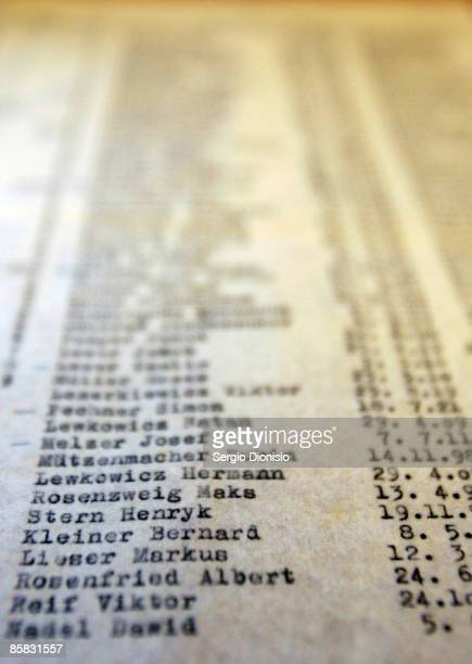 A detailed view of a carbon copy of an original Schindler's List is seen following its discovery by The State Library's Dr Olwen Pryke at The State...