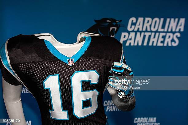 Detailed view of a Carolina Panthers jersey during the NFL Experience exhibition before Super Bowl 50 at the Moscone Center on February 3 2016 in San...