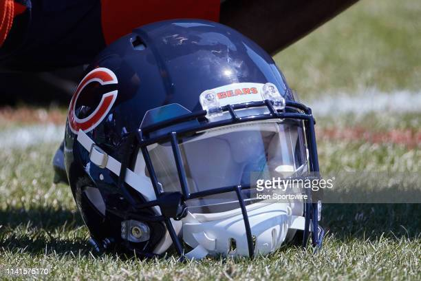 Detailed view of a Chicago Bears helmet is seen on the field during the Chicago Bears Rookie Mini-Camp on May 5, 2019 at Halas Hall, in Lake Forest,...