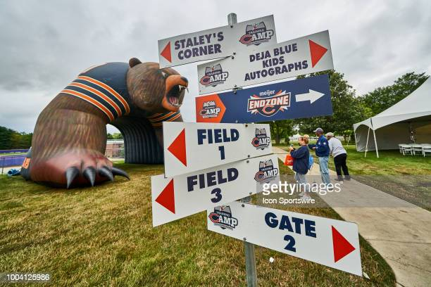 A detailed view of a Chicago Bears sign post with directions to various field and venue locations is seen during the Chicago Bears training camp on...
