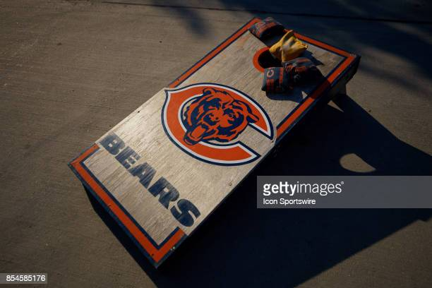 Tremendous A Detailed View Of A Chicago Bears Themed Bean Bag Board And Alphanode Cool Chair Designs And Ideas Alphanodeonline