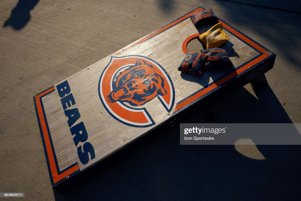 Brilliant A Detailed View Of A Chicago Bears Themed Bean Bag Board And Alphanode Cool Chair Designs And Ideas Alphanodeonline