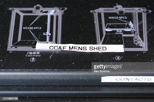 A detailed view of a Church Crookham and Fleet Men's Shed name label on a 3D printer at a 'Project Shield' volunteer's home on May 12 2020 in Church...