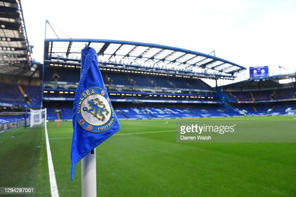 Detailed view of a corner flag ahead of the Premier League match between Chelsea and Manchester City at Stamford Bridge on January 03, 2021 in...