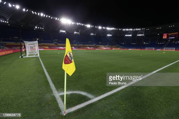 Detailed view of a corner flag ahead of the Serie A match between AS Roma and Hellas Verona FC at Stadio Olimpico on January 31, 2021 in Rome, Italy....