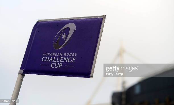 Detailed view of a corner flag during the European Rugby Challenge Cup match between Cardiff Blues and Toulouse at Cardiff Arms Park on January 14...