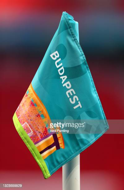 Detailed view of a corner flag during the Hungary Training Session ahead of the Euro 2020 Group F match between Hungary and Portugal at Puskas Arena...